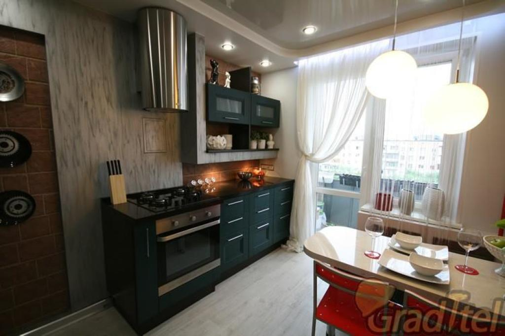 Новые идеи дизайна кухни объединенной с балконом..